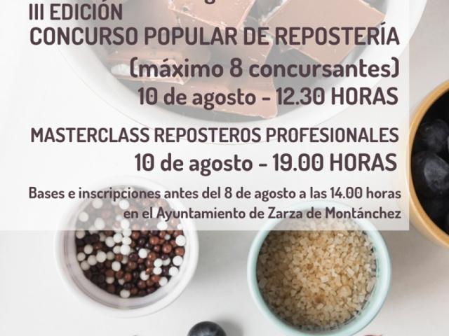 BASES PARA EL III CONCURSO POPULAR DE REPOSTERÍA AMATEURS DE ZARZA DE MONTANCHEZ 2019